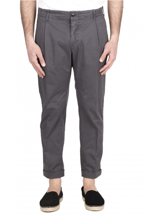 SBU 03258_2021SS Classic grey cotton pants with pinces and cuffs 01