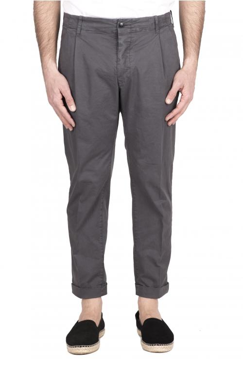 SBU 03258_2021SS Pantalon classique en coton gris avec pinces et poignets 01