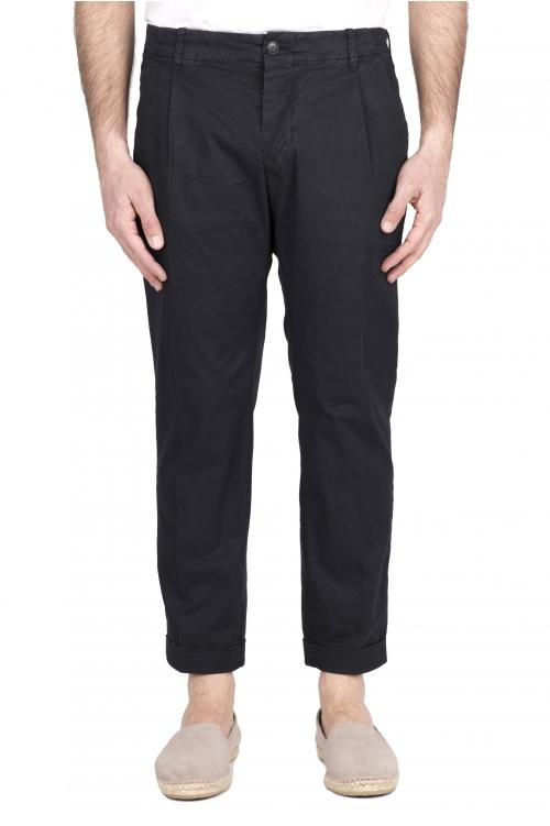 SBU 03259_2021SS Pantaloni classico in cotone con pinces e risvolto blu 01