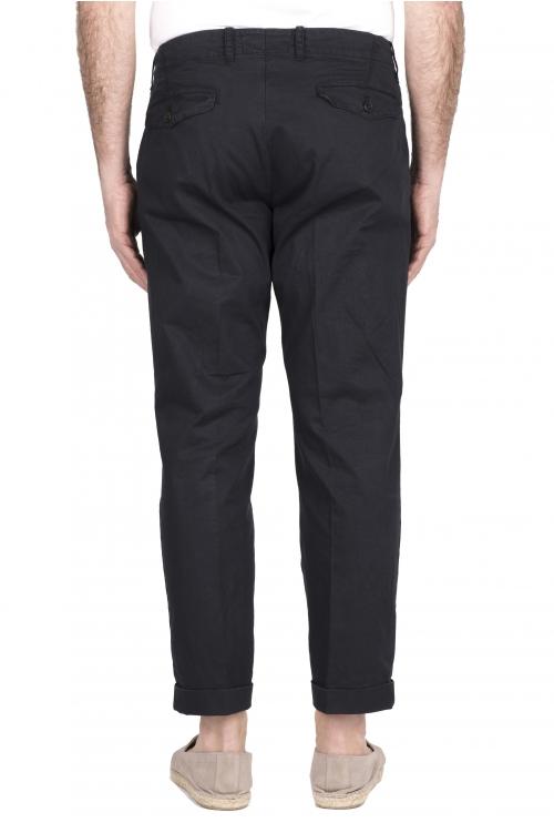 SBU 03259_2021SS Pantalón clásico de algodón azul con pinzas y puños 01