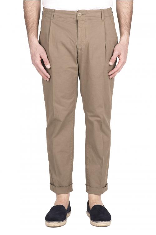 SBU 03260_2021SS Pantalon classique en coton beige avec pinces et poignets 01