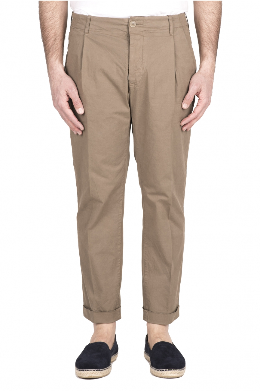 SBU 03260_2021SS Classic beige cotton pants with pinces and cuffs 01
