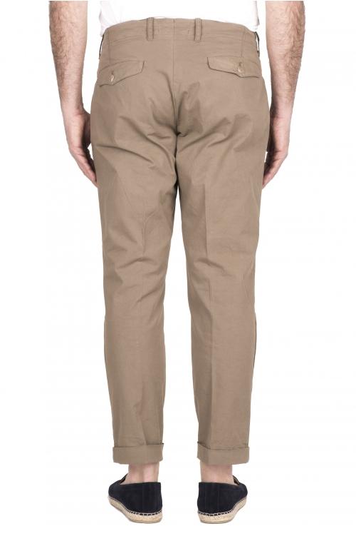 SBU 03260_2021SS Pantalón clásico de algodón beige con pinzas y puños 01