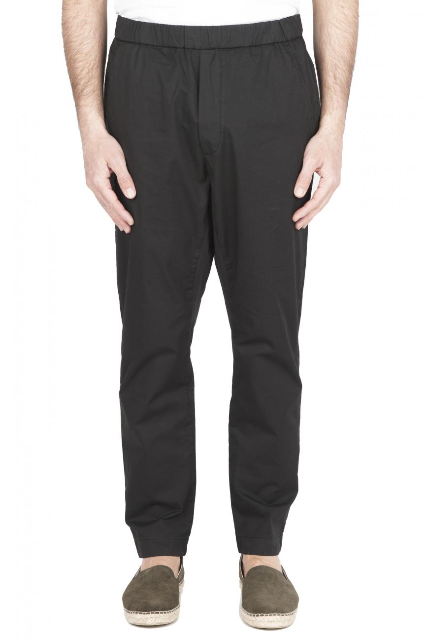 SBU 03261_2021SS Ultra-light jolly pants in black stretch cotton 01