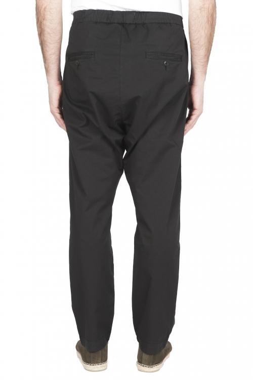 SBU 03261_2021SS Pantaloni jolly ultra leggeri in cotone elasticizzato neri 01