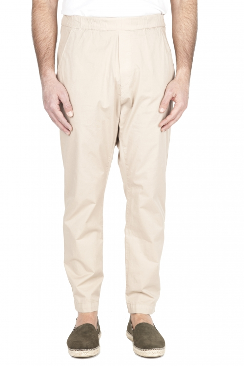 SBU 03262_2021SS Pantalón jolly ultraligero en algodón elástico beige 01