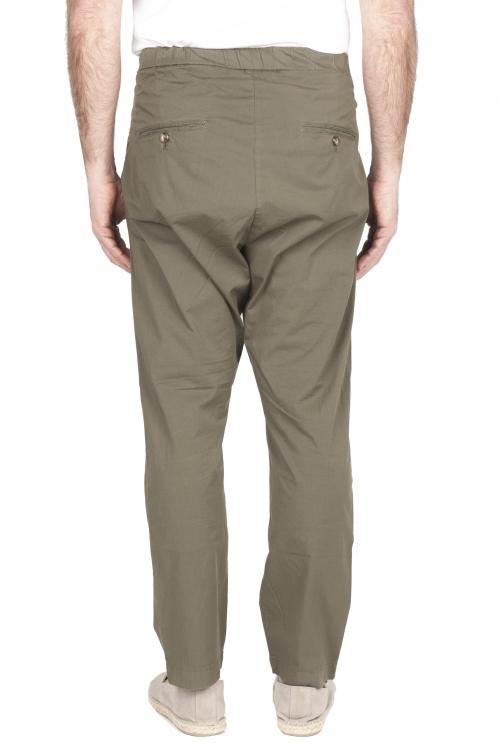 SBU 03263_2021SS Pantaloni jolly ultra leggeri in cotone elasticizzato verde 01