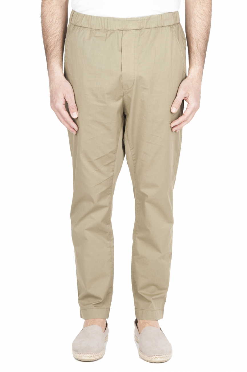 SBU 03265_2021SS Ultra-light jolly pants in green stretch cotton 01