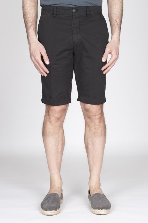 Bermuda Shorts In Cotone Elasticizzato Nero