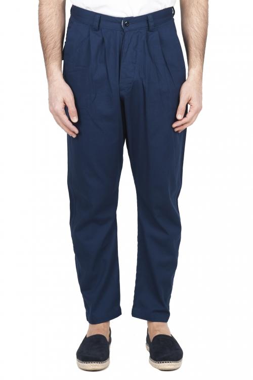 SBU 03267_2021SS Pantalón japonés de dos pinzas en algodón azul 01