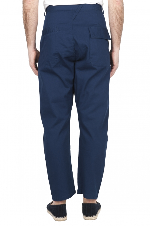 SBU 03267_2021SS Japanese two pinces work pant in blue cotton 01