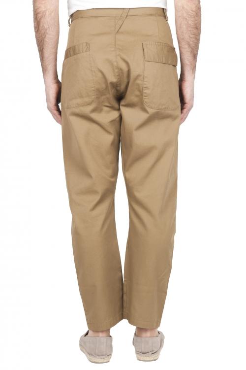 SBU 03268_2021SS Pantaloni da lavoro giapponesi con due pinces in cotone beige 01