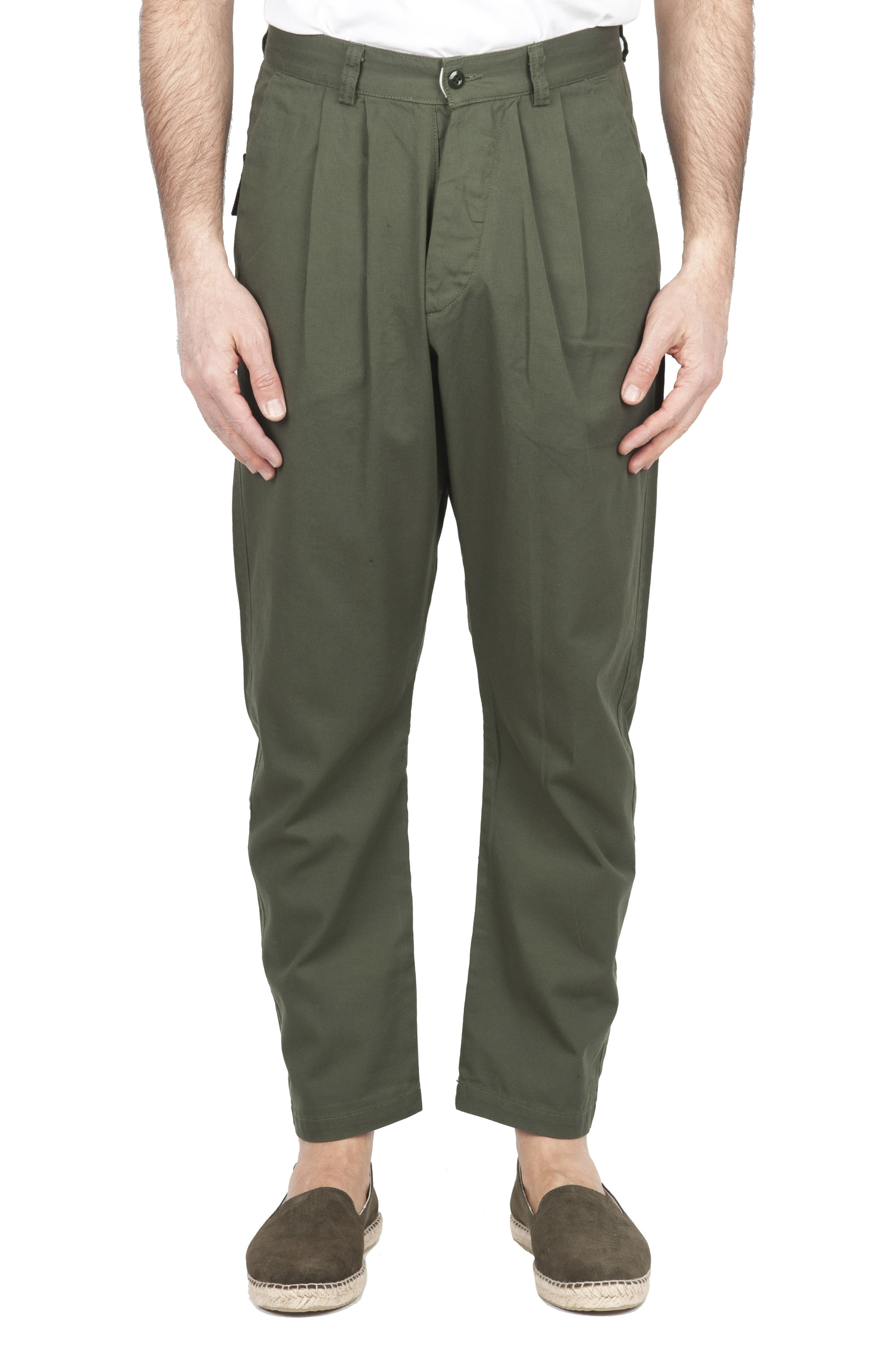 SBU 03270_2021SS Japanese two pinces work pant in green cotton 01