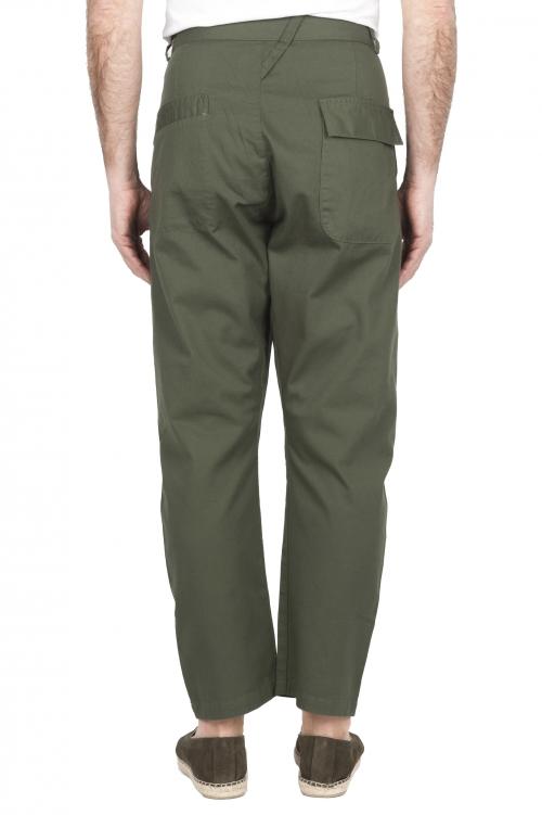 SBU 03270_2021SS Pantaloni da lavoro giapponesi con due pinces in cotone verde 01