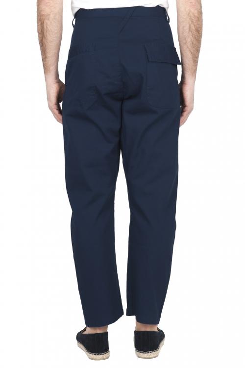 SBU 03272_2021SS Pantalón japonés de dos pinzas en algodón azul marino 01