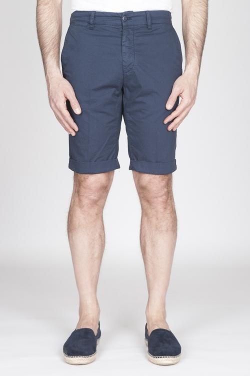 Bermuda Shorts In Cotone Elasticizzato Blue Navy