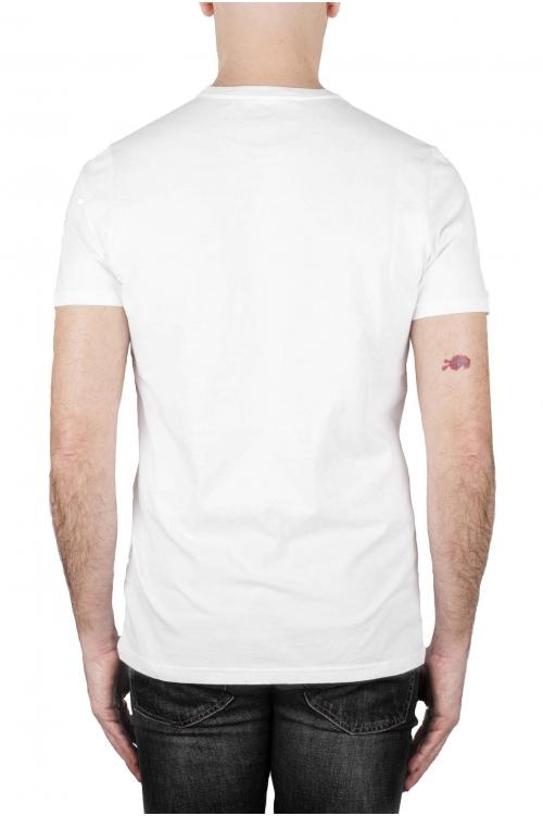 SBU 02845_2021SS Shirt classique gris et blanche col rond manches courtes en coton graphique imprimé 01