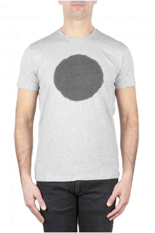 SBU 02846_2021SS Shirt classique noir et gris col rond manches courtes en coton graphique imprimé 01