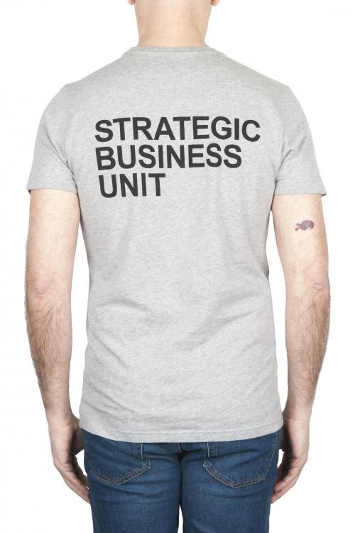 SBU 01793_2021SS Camiseta gris mélange de cuello redondo estampado a mano 01