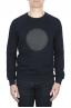 SBU 01795_2021SS Hand printed crewneck navy blue sweatshirt 01