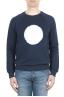 SBU 01796_2021SS Hand printed crewneck blue sweatshirt 01