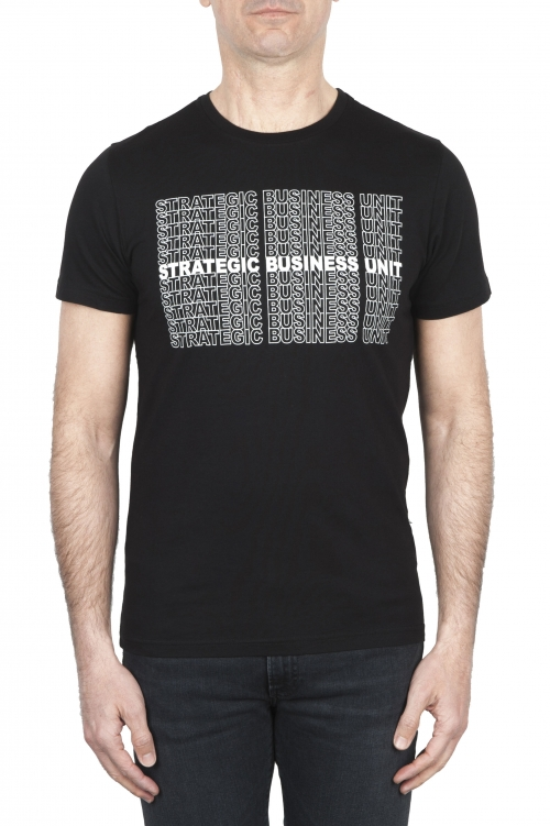 SBU 01802_2021SS 手でプリントされたラウンドネックブラックTシャツ 01