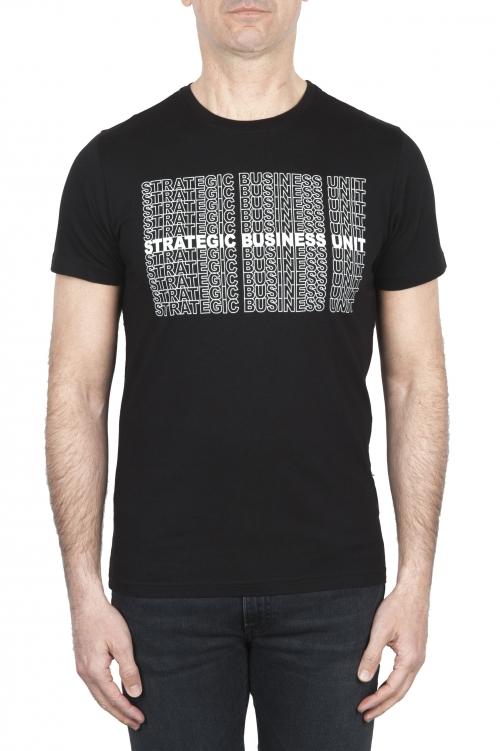 SBU 01802_2021SS T-shirt girocollo nera stampata a mano 01