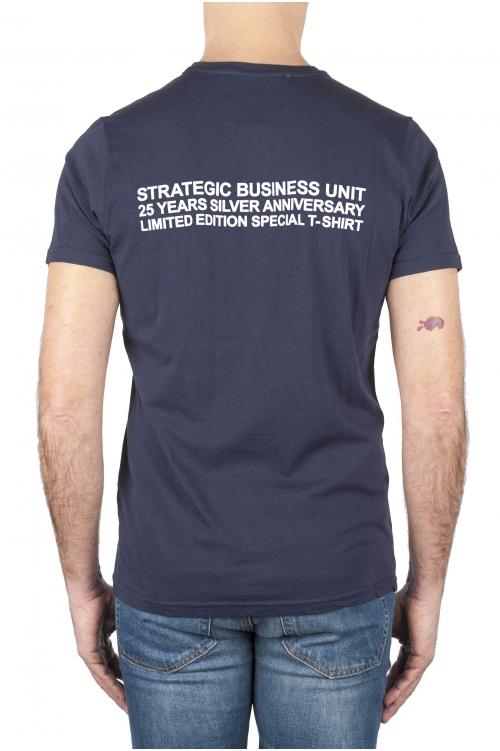 SBU 01788_2021SS Round neck navy blue t-shirt 25 years anniversary print 01