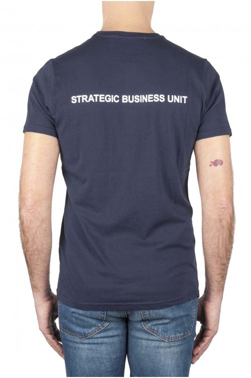 SBU 01163_2021SS Clásica camiseta de cuello redondo azul marino manga corta de algodón 01