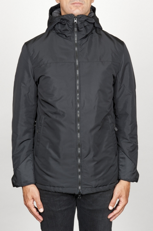 Technical waterproof padded short parka jacket black