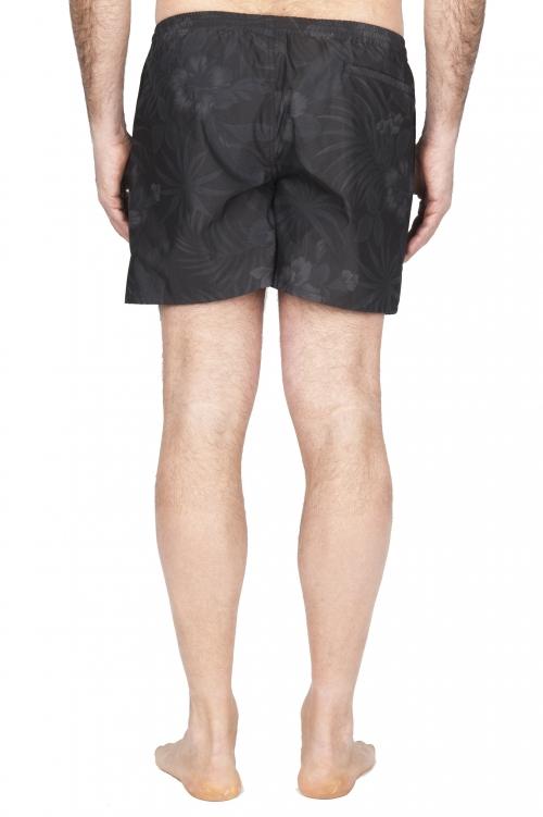 SBU 01762_2021SS Tactical swimsuit trunks in black floral print ultra-lightweight nylon 01