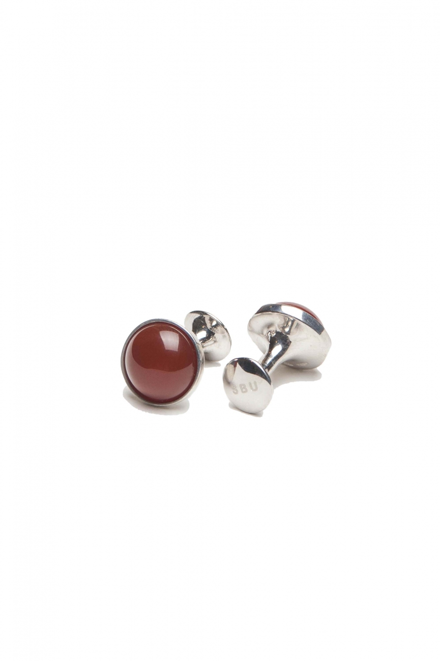 SBU 01010_2021SS Classic silver and carnelian mineral handmade cufflinks 01