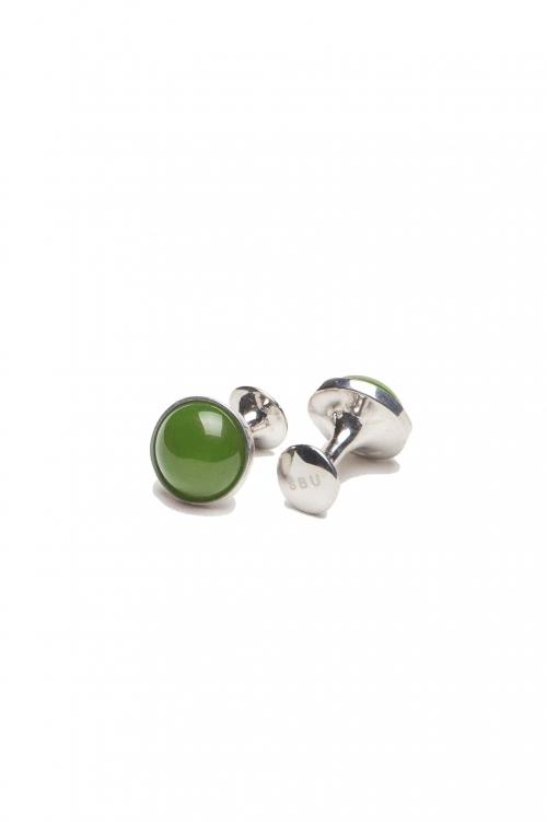 SBU 01011_2021SS Classic silver and jade mineral handmade cufflinks 01