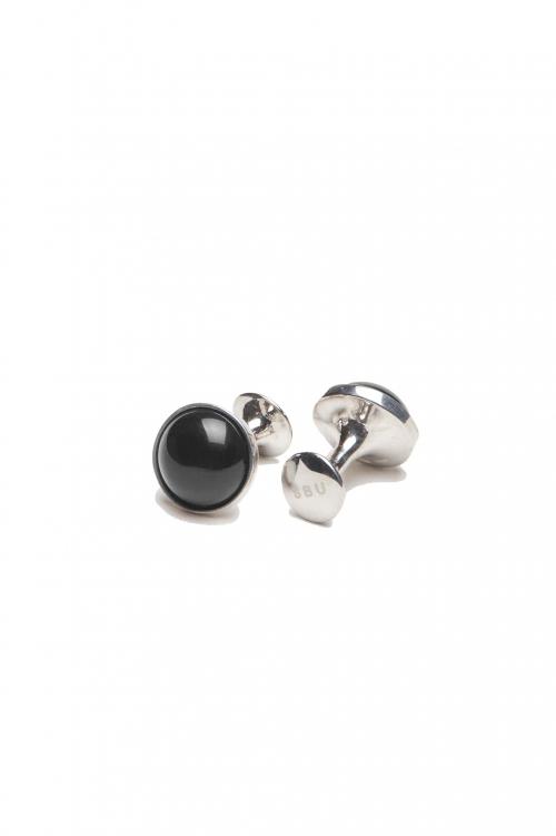 SBU 01016_2021SS Classic silver and onyx mineral handmade cufflinks 01