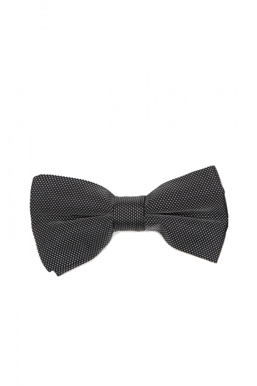 SBU 01031_2021SS Classic ready-tied bow tie in grey silk satin 01