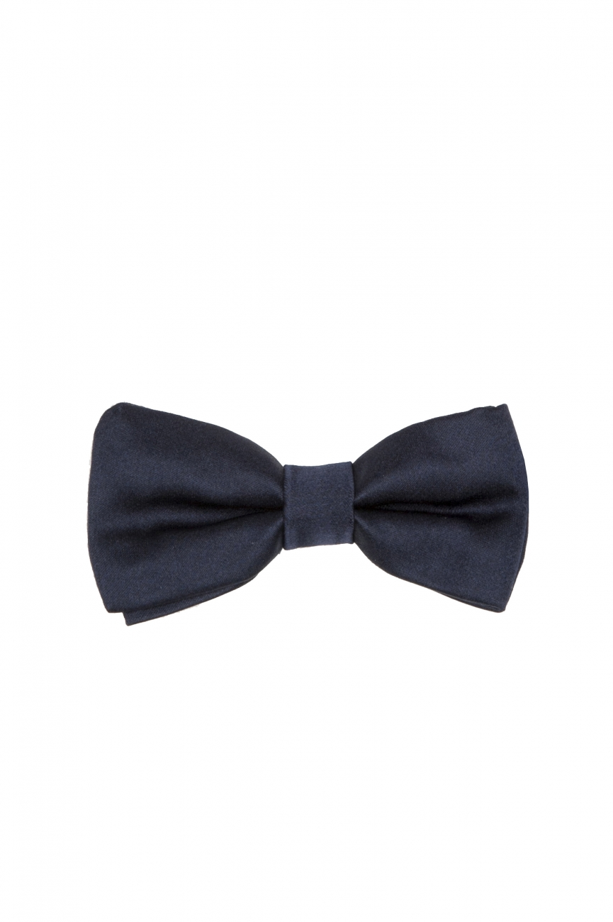 SBU 01032_2021SS Classic ready-tied bow tie in blue silk satin 01