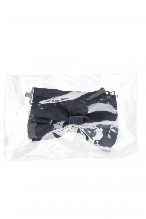 SBU 01032_2021SS 青い絹のサテンの古典的な準備ができた蝶ネクタイ 01