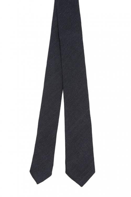 SBU 01569_2021SS Classic skinny pointed tie in black wool and silk 01