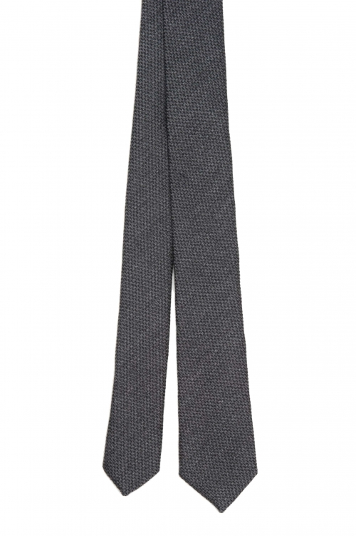 SBU 01570_2021SS Classic skinny pointed tie in grey wool and silk 01