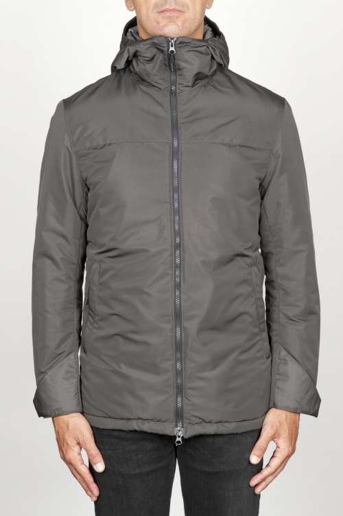 Technical waterproof padded short parka jacket grey