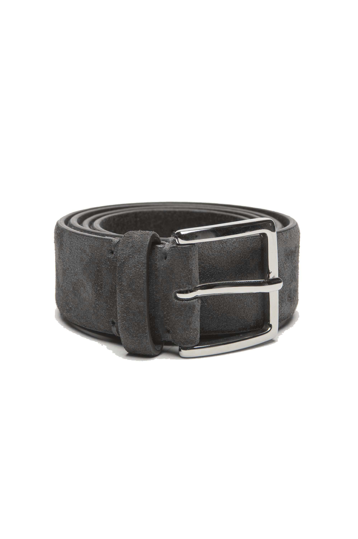 SBU 03010_2021SS Grey calfskin suede belt 1.4 inches  01