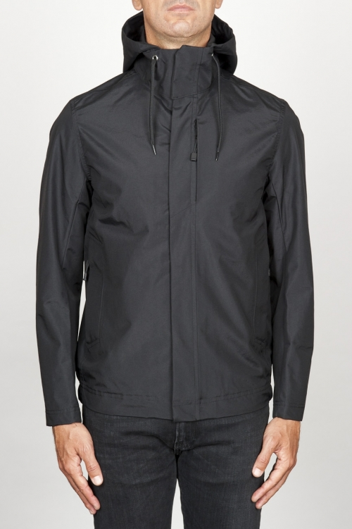 Technical waterproof hooded windbreaker jacket black