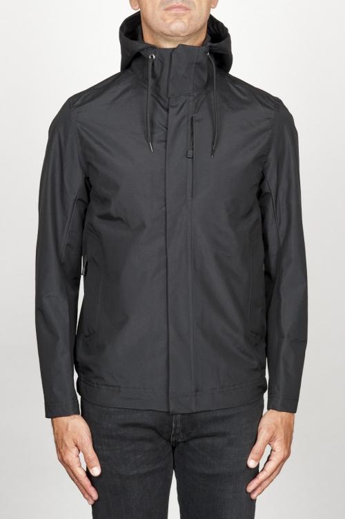 Veste coupe-vent noir imperméable avec capuche