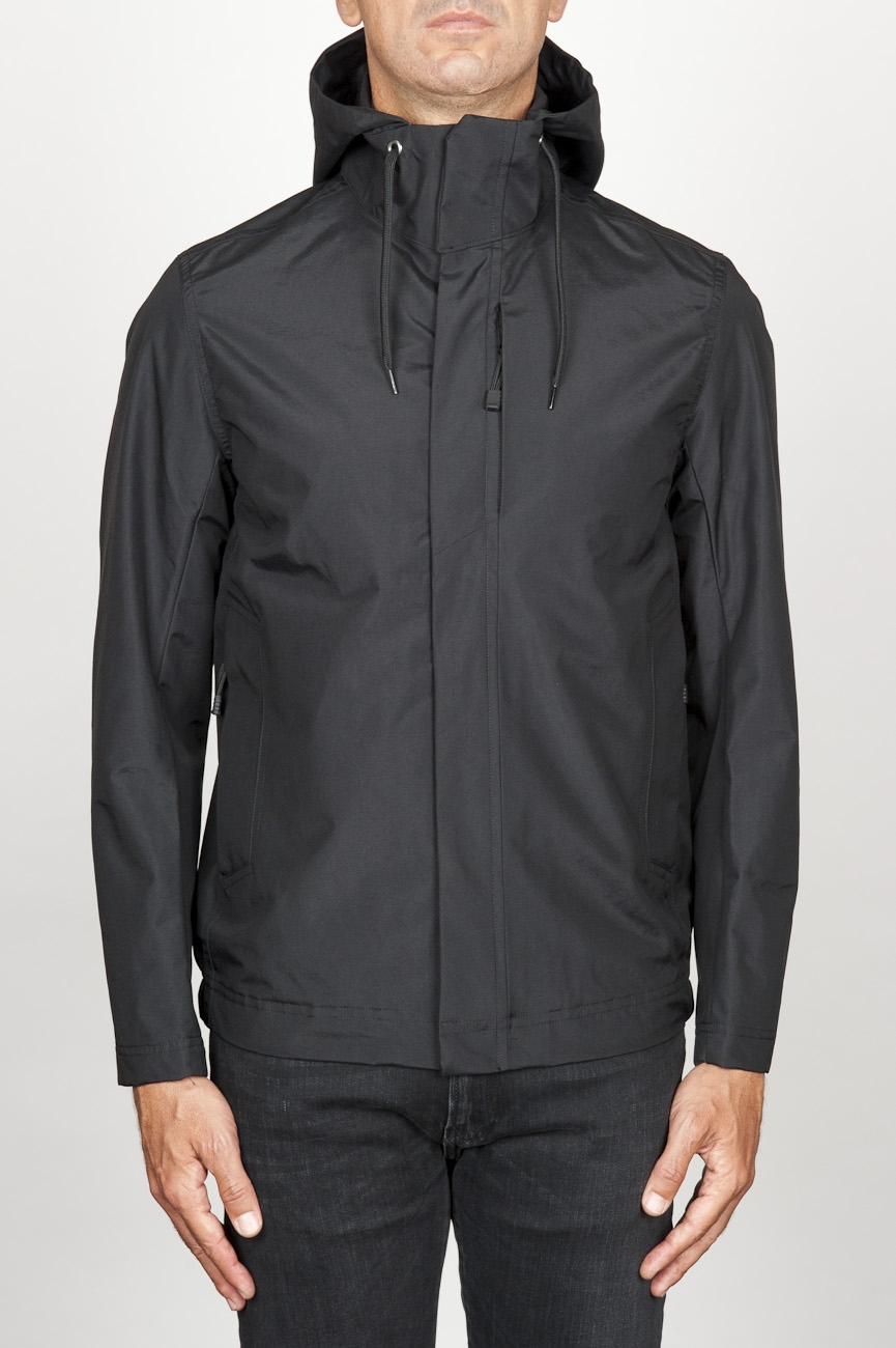 SBU 00903 Technical waterproof hooded windbreaker jacket black 01