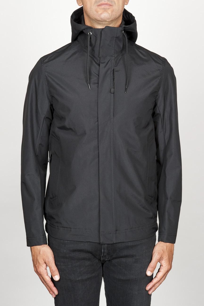 SBU 00903 Veste coupe-vent noir imperméable avec capuche  01