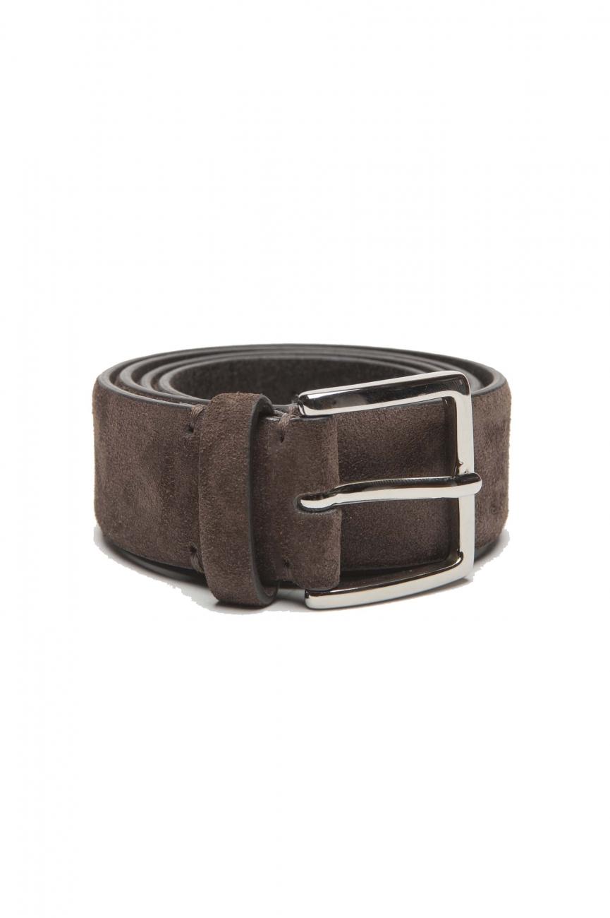 SBU 03012_2021SS Brown calfskin suede belt 1.4 inches  01