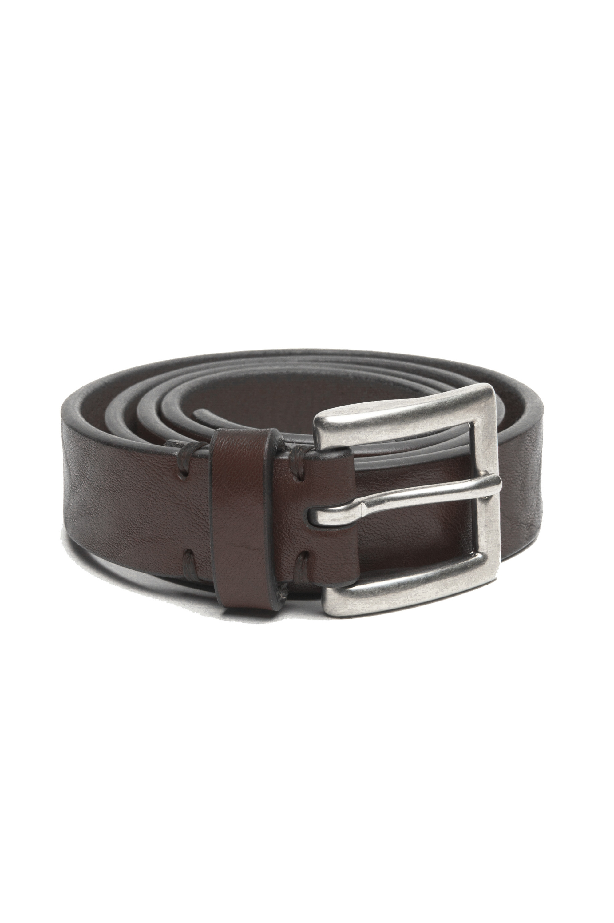 SBU 03016_2021SS Brown bullhide leather belt 0.9 inches 01