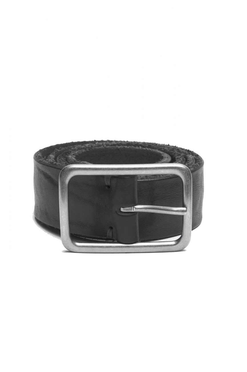SBU 03017_2021SS Black bullhide leather belt 1.4 inches 01