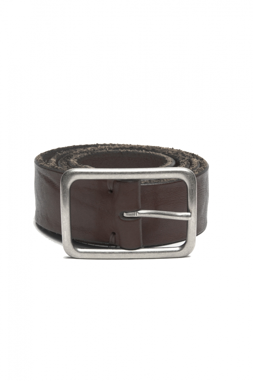 SBU 03019_2021SS Brown bullhide leather belt 1.4 inches 01