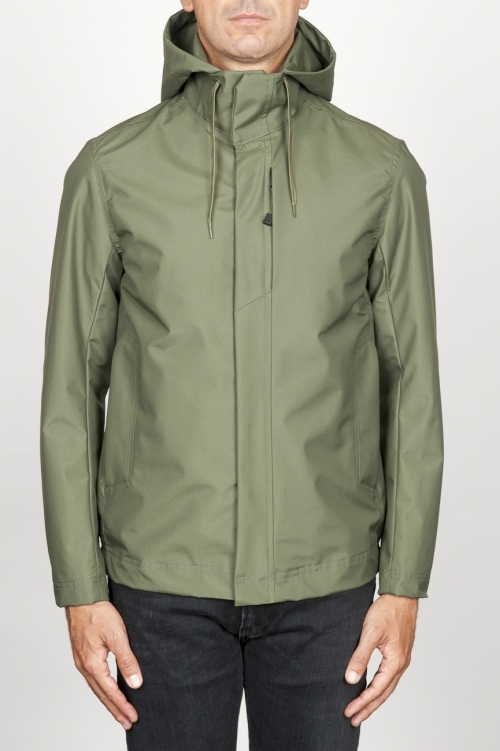 Technical waterproof hooded windbreaker jacket green